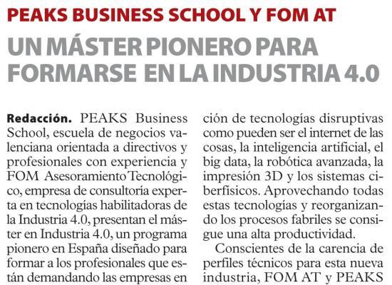 Las Provincias Industria 4.0. PEAKS
